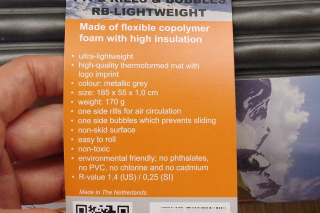 MAGICMOUNTAIN Sirex RBライトウェイト(マット厚1.0cm,重さ170g,R値1.4)