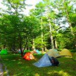 上高地3泊4日ファミリーキャンプ体験記1日目。早朝に出発し沢渡駐車場へ。タクシーにキャンプ用品満載し、リヤカーで小梨平キャンプ場へ