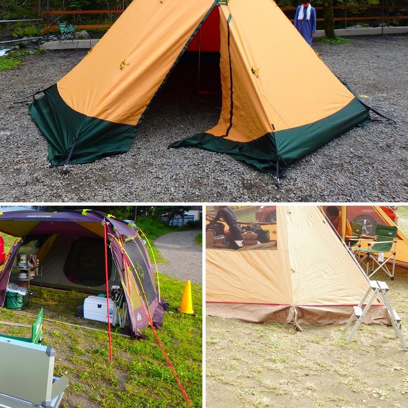 キャンプ場の地面(砂利、凸凹芝生)