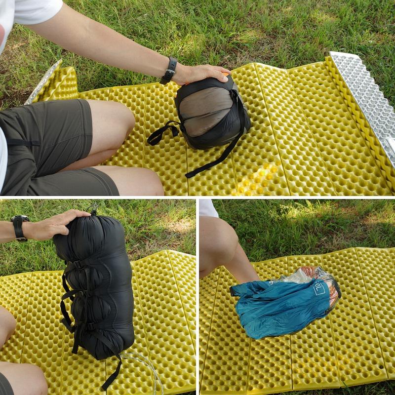 コンプレッションバッグ(サック・キャップ・圧縮袋)の圧縮後