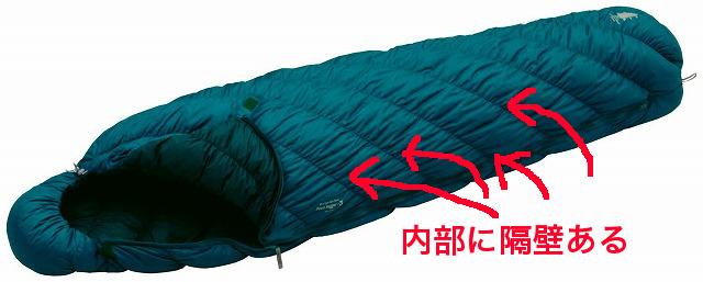 モンベル 寝袋・シュラフ 隔壁 バッフル